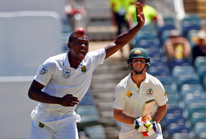 South Africa's Kagiso Rabada appeals successfully for LBW to dismiss Australia's Mitchell Marsh at the WACA Ground in Perth. Photo: Reuters