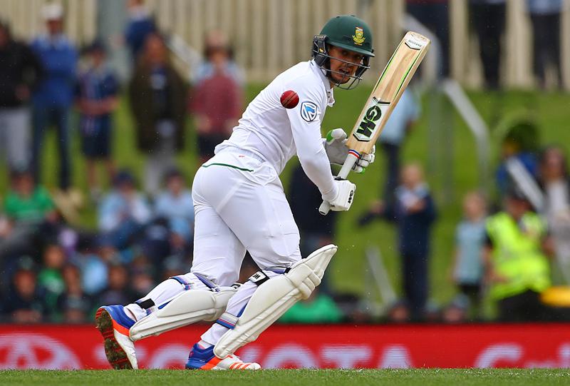 South Africa's Quinton de Kock hits a shot to reach his century. Photo: Reuters