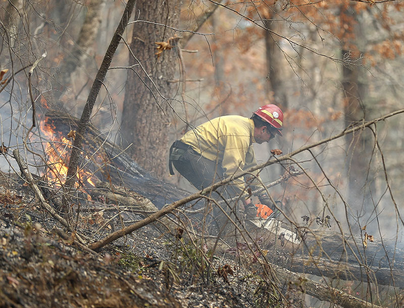 A firefighter battles a wildfire on Tuesday, November 15, 2016, in Clayton, Ga. Photo: AP