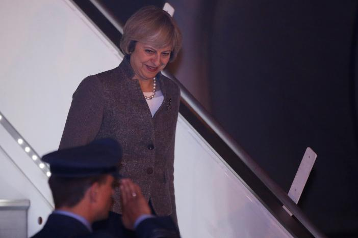 Britain's Prime Minister Theresa May disembarks from an aircraft upon her arrival at the airport in New Delhi, India, November 6, 2016. REUTERS/Adnan Abidi