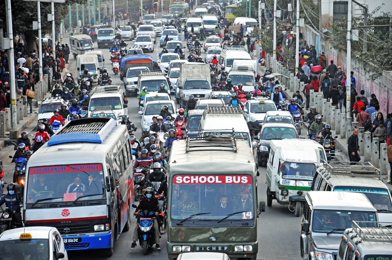 FILE: A view of a traffic jam on a road, in Kathmandu, on Monday, November 21, 2016. Photo: THT