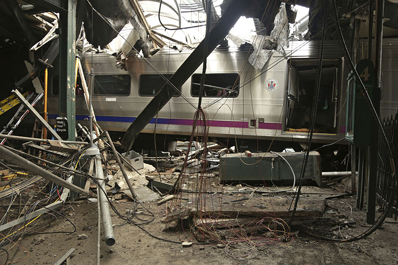FILE - Damage done to the Hoboken Terminal in Hoboken, New Jersey, after the September 29 commuter train crash, on October 1, 2016. Photo: Chris O'Neil/NTSB photo via AP
