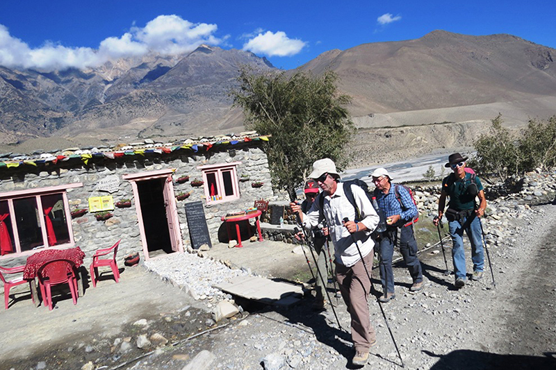 Trekkers heading for Jomsom from Muktinath in Mustang district, on Saturday, November 5, 2016. Photo: RSS