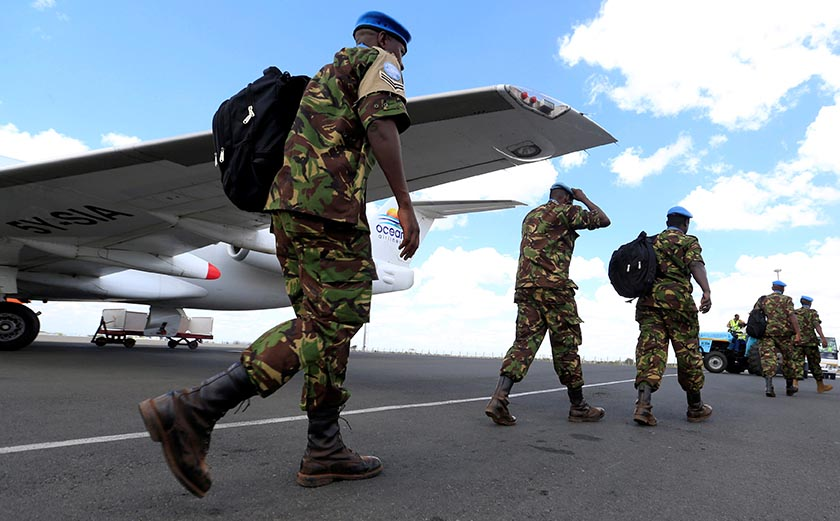 Kenya Defence Forces (KDF) soldiers, the first batch of the troops who had served in the UN peacekeeping mission in South Sudan, arrive at the Jomo Kenyatta international airport in Nairobi Kenya, November 9, 2016, after withdrawing in response to the sacking of their Kenyan commander of the UNMISS force following a U.N. inquiry. REUTERS/Thomas Mukoya