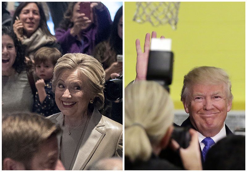 In this photo combination, Democratic presidential candidate Hillary Clinton greets supporters after voting in Chappaqua, New York, and Republican presidential candidate Donald Trump waves after voting in New York, on Tuesday, November 8, 2016. Photo: AP