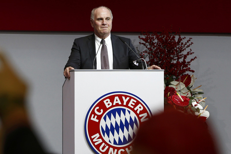 Bayern Munich's new elected President Uli Hoeness is pictured during the annual general meeting of the German Bundesliga first division soccer club in Munich, Germany, November 25, 2016. Photo: Reuters