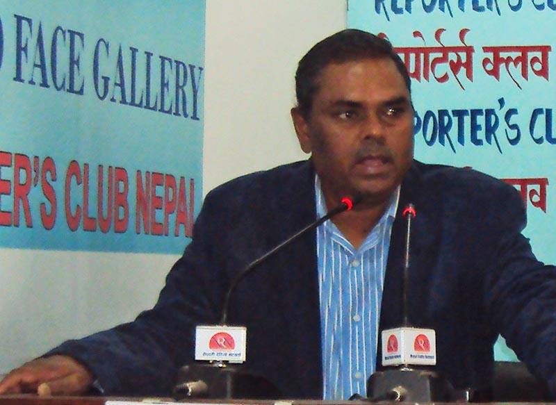 Socialist Forum Nepal Chairman Upendra Yadav at the Reporters Club. Photo: RSS