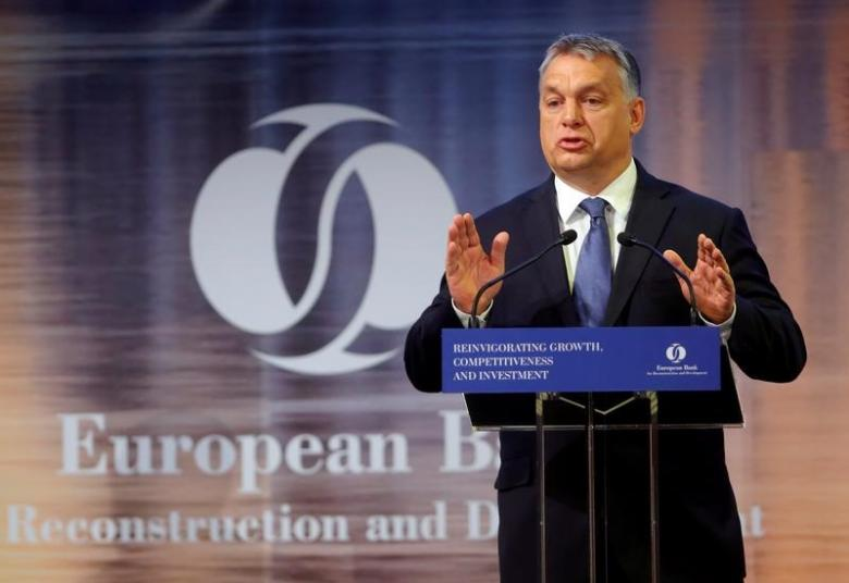 Hungarian Prime Minister Viktor Orban delivers a speech during the European Bank for Reconstruction and Development (EBRD) economic conference in Budapest, Hungary, November 10, 2016. REUTERS/Laszlo Balogh