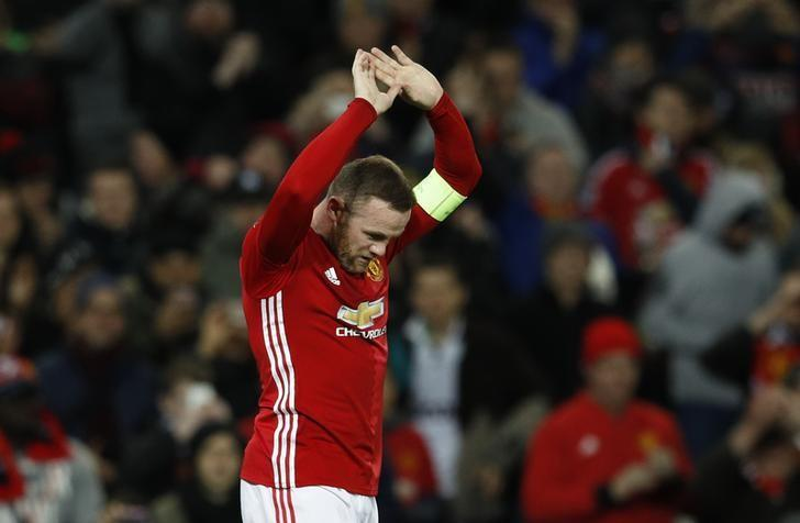 Britain Football Soccer - Manchester United v Feyenoord - UEFA Europa League Group Stage - Group A - Old Trafford, Manchester, England - 24/11/16 Manchester United's Wayne Rooney celebrates scoring their first goal  Reuters / Phil Noble Livepic