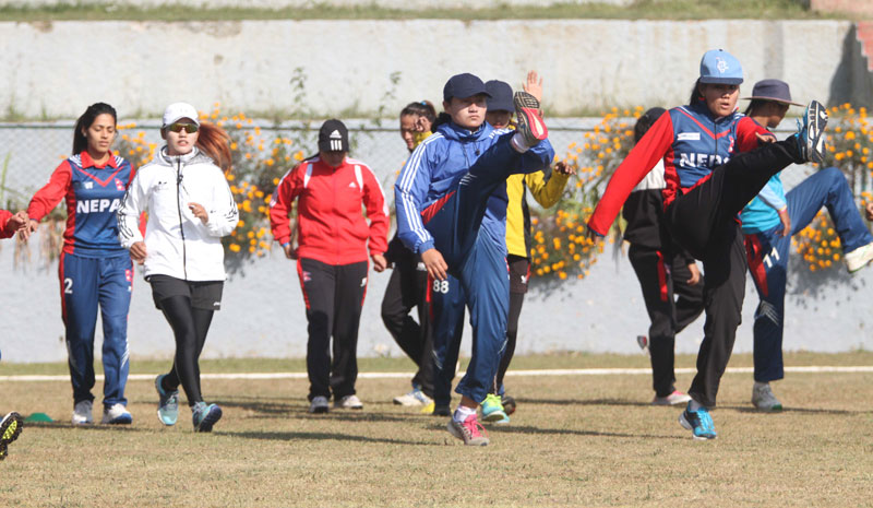 Nepal national women's cricket team members take part in a training session at the TU Stadium in Kathmandu on Monday. They are preparing for the ACC Womenu2019s Asia Cup slated for November 26 to December 4 in Bangkok, Thailand. Udipt Singh Chhetry / THT