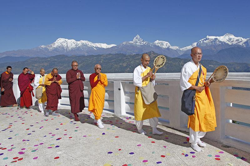 Buddhist monks making a round of World Peace Stupa, in Anadu, Pokhara, on Saturday, November 5, 2016. Photo: THT
