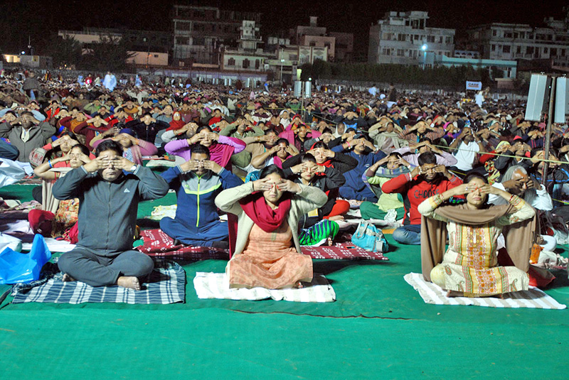 People taking part in a yoga camp at the Aadarsha Rangasala in Birgunj, on Friday, November 25, 2016. Photo: RSS