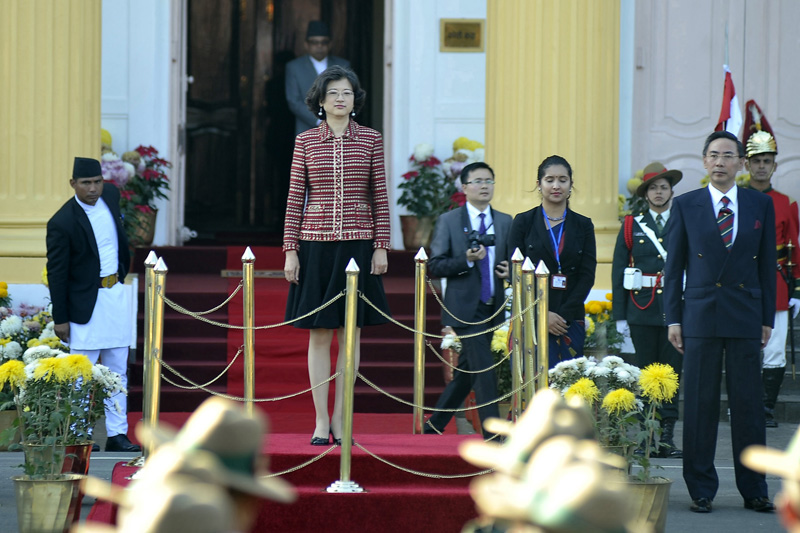 Newly appointed Chinese Ambassador to Nepal Yu Hong attends a ceremony as she presents her letter of credence to President Bidya Devi Bhandari at Sheetal Niwas in Kathmandu, on Thursday, November 10, 2016. Photo: RSS