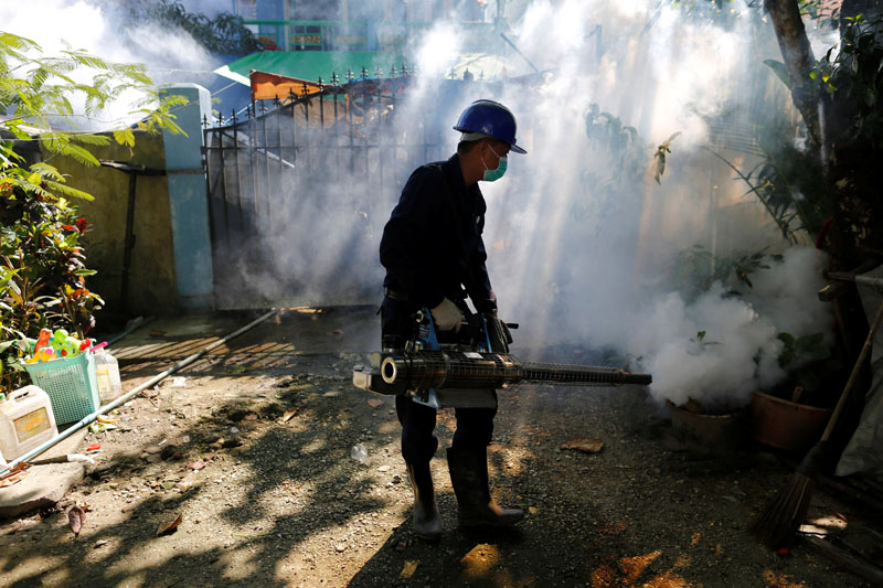 Worker fumigates along a street in Yangon, Myanmar, on November 18, 2016. Photo: Reuters