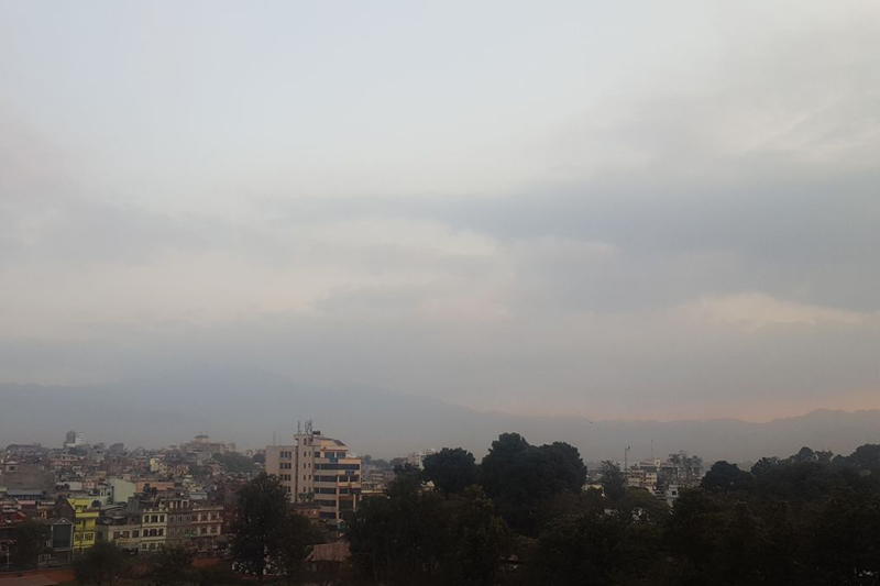 FILE: The southeastern Kathmandu sky seen covered by clouds as seen from Anamnagar, on Monday, November 28, 2016. Met officials said low-pressure systems caused the cloudy conditions across Nepal today. Photo: Anukrit Chapagain