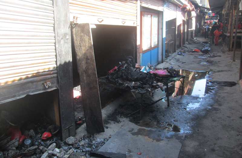 Goods that were destroyed after a fire broke out in Hong Kong Bazaar, in Pokhara, on Thursday, November 10, 2016. Photo: THT
