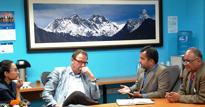 Nepal Government officials hold a meeting with Practice Manager-Agriculture for South Asia at the World Bank Martien van Nieuwkoop, in Kathmandu, on Friday, November 18, 2016. Photo Courtesy: PACT