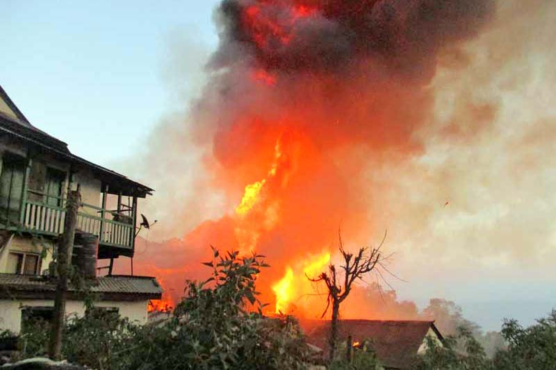 An inferno rages in the Bhotepasal area of Bhojpur Bazaar, on Sunday, November 20, 2016. Photo: Niroj Koirala/THT