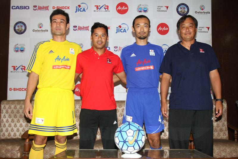 (From left) Friends of Japan skipper Yosuke Nozawa, Nepal captain Anil Gurung, Japanese coach Toda Kazuyuki and Nepali team coach Gyotoku Koji at a press meet in Lalitpur on Friday.