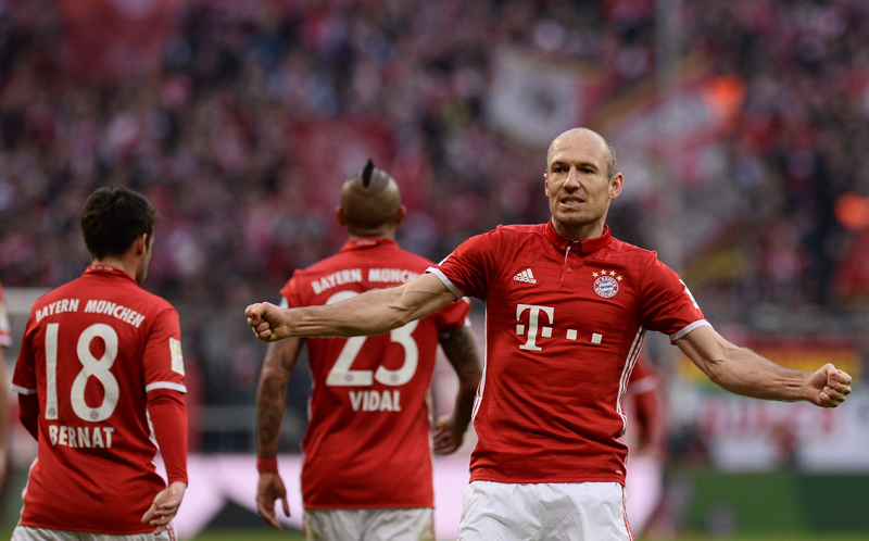 Bayern Munich's Arjen Robben reacts after scoring. Photo: Reuters