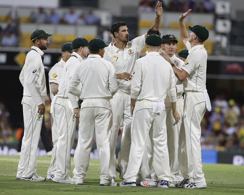 Australia's Mitchell Starc, center, celebrates with his teammates after he got the wicket of Pakistan's Sami Aslam during play on day three of the first cricket test between Australia and Pakistan in Brisbane, Australia, Saturday, Dec. 17, 2016. Photo: AP