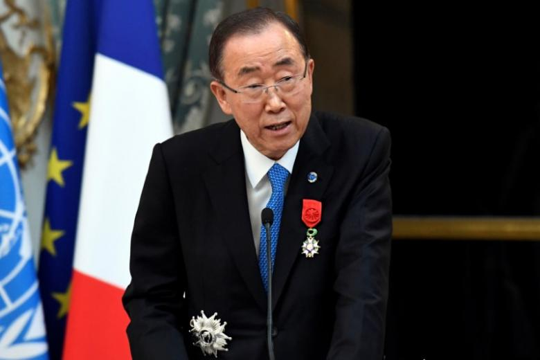 U.N. Secretary General Ban Ki-moon delivers a speech after being awarded with the Legion of Honour (Legion d'Honneur) by the French president at the Elysee Palace in Paris, France, November 17, 2016.  REUTERS/Bertrand Guay/Pool/File Photo