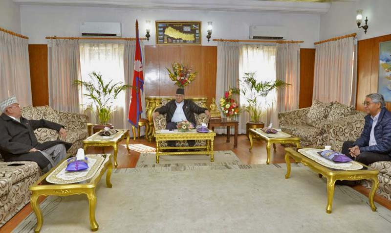Prime Minister and CPN Maoist Centre Chairman Pushpa Kamal Dahal in a meeting with Nepali Congress President Sher Bahadur Deuba and CPN-UML Chairman KP Sharma Oli held at the Prime Minister's residence in Baluwatar, on Tuesday, December 13, 2016. The major three political parties had discussed various contemporary issues. Photo Courtesy: PM's Secretariat