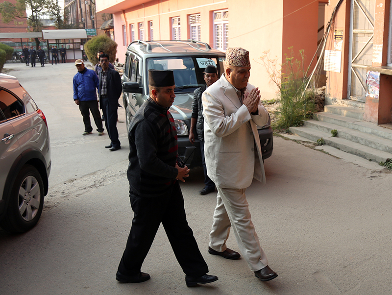 Commission for the Investigation of Abuse of Authority Chief Lok Man Singh Karki heads towards a bench to attend a hearing on a case filed against him at the Supreme Court, in Kathmandu, on Thursday, December 22, 2016. Photo: RSS