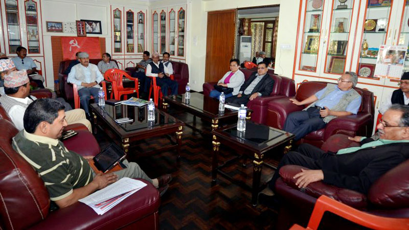 CPN Maoist Centre Chairman and Prime Minister Pushpa Kamal Dahal chairs the party's Central Office meeting at Lazimpat in Kathamndu on Sunday, December 4, 2016. Photo: PM's Secretariat