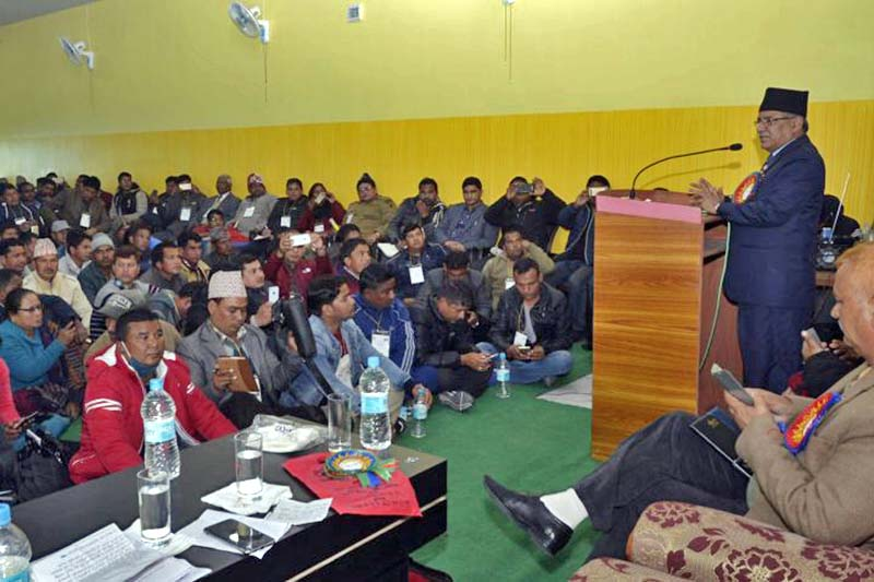 Prime Minister and CPN Maoist Centre Chairman Pushpa Kamal Dahal addresses a meeting of his cadres in Dhangadhi of Kailali district, on Wednesday, December 21, 2016.  Photo: PM's Secretariat