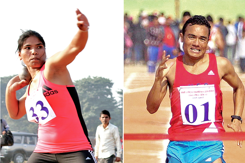 Athlete Hari Rimal (right) of TAC crosses the finish-line in the menu0092s 1500m race of the seventh National Games at the Itahari Stadium in Sunsari on Saturday, December 24, 2016.  (Right) Chandra Kala Lamgade of NPC throwing the shot-put. Photo: THT