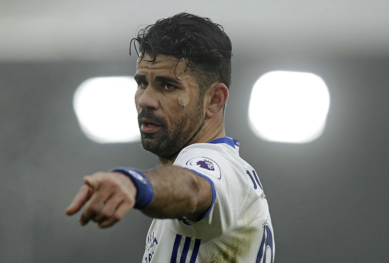 Chelsea's Diego Costa gestures during the English Premier League soccer match between Crystal Palace and Chelsea at Selhurst Park stadium in London, on Saturday, December 17, 2016. Photo: AP