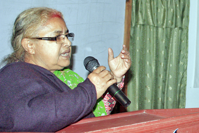 Chief Justice Sushila Karki speaking at a programme in Chitwan, on Tuesday, December 13, 2016. Photo: RSS