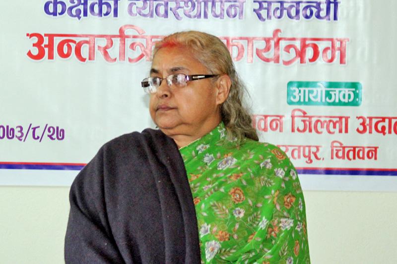 Chief Justice Sushila Karki attending a programme in Chitwan on Monday, December 12, 2016. Photo: Tilak Ram Rimal