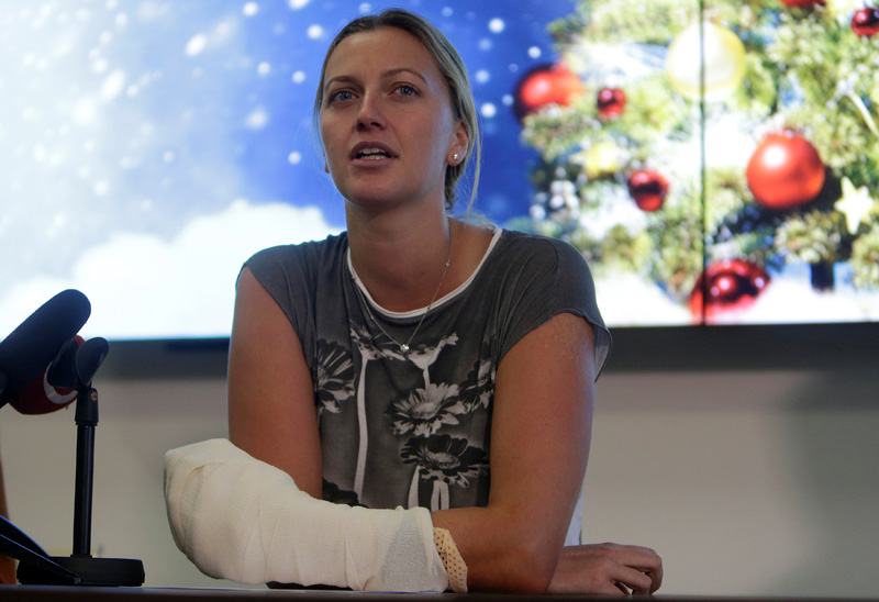Czech Republic's tennis player Petra Kvitova speaks during a news conference, after she was injured on Tuesday when she fought off an intruder in her home, damaging all the fingers on her playing hand, in Prague, Czech Republic December 23, 2016. Photo: Reuters