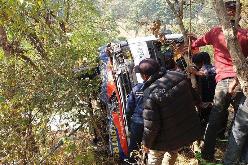 Wreckage of a bus that met with an accident at Musot, in Lakshmipur VDC along the Ghorahi-Lamahi road section in Dang district, on Thursday, December 22, 2016. Photo: RSS