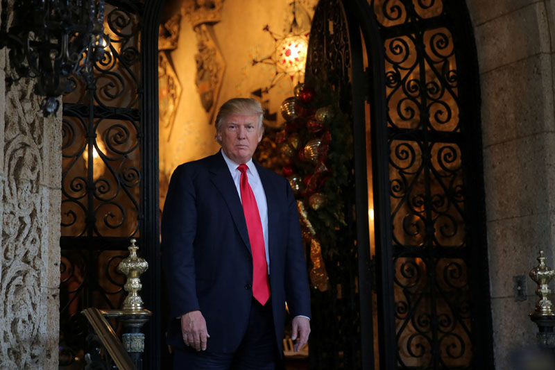 US President-elect Donald Trump pauses as he talks to members of the media after a meeting with Pentagon officials at Mar-a-Lago estate in Palm Beach, Florida, US, on December 21, 2016. Photo: Reuters