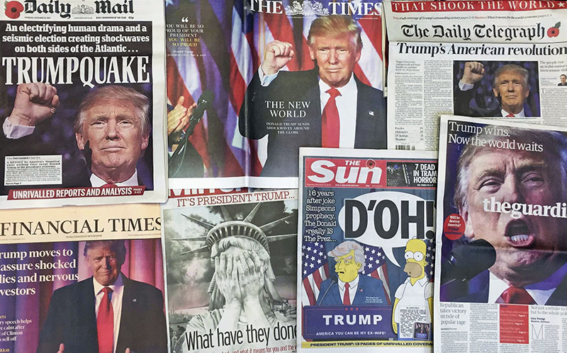 FILE - The front pages of various British newspapers in London reporting on Donald Trump winning the US presidential election, on Thursday, November 10, 2016. Photo: AP