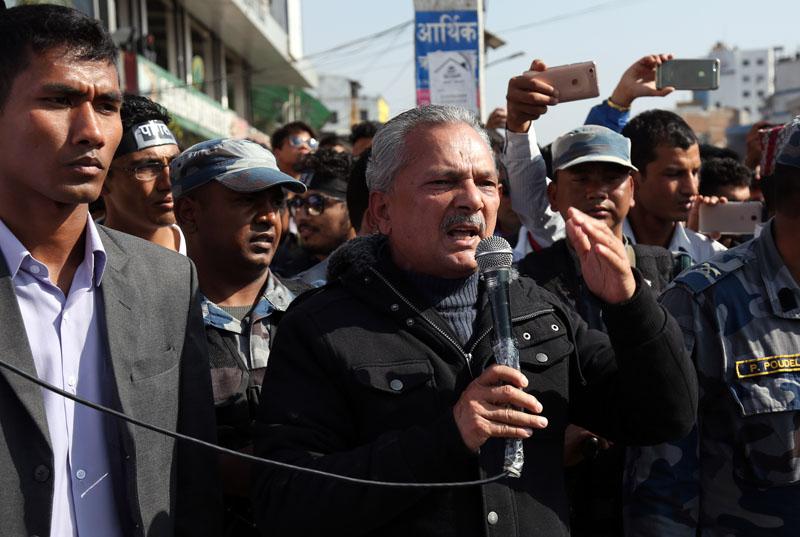 Former Prime Minister Baburam Bhattarai addresses a rally held in support of Dr Govinda KC, in Kathmandu, on Saturday, December 3, 2016. Photo: RSS