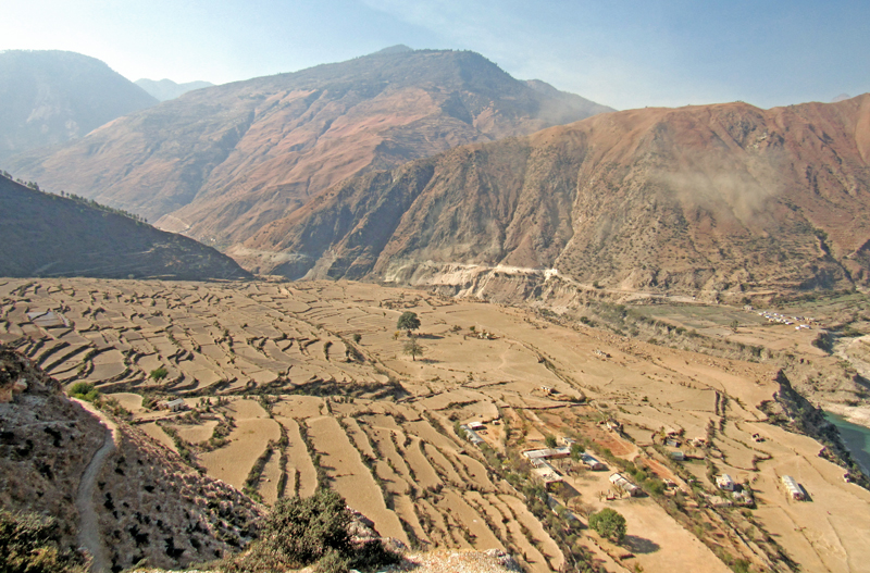 A view of cultivable but unused land due to prolonged drought in Wai VDC, Bajura, on Wednesday, December 21, 2016. Photo: THT