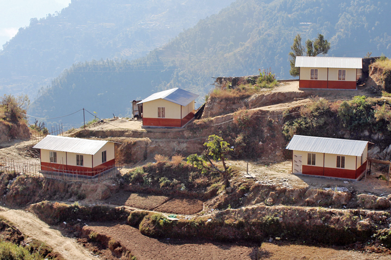 Earthquake-resistant houses built by a local NGO with the financial assistance from a Korea-based INGO, Better World, in Dandaguan of Gorkha district, as captured on Tuesday, December 13, 2016. Photo: RSS