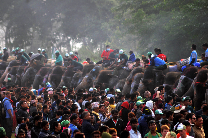Visitors during the 13th Elephant Festival in Sauraha of Chitwan, on Tuesday, December 27, 2016. Photo: Balkrishna Thapa