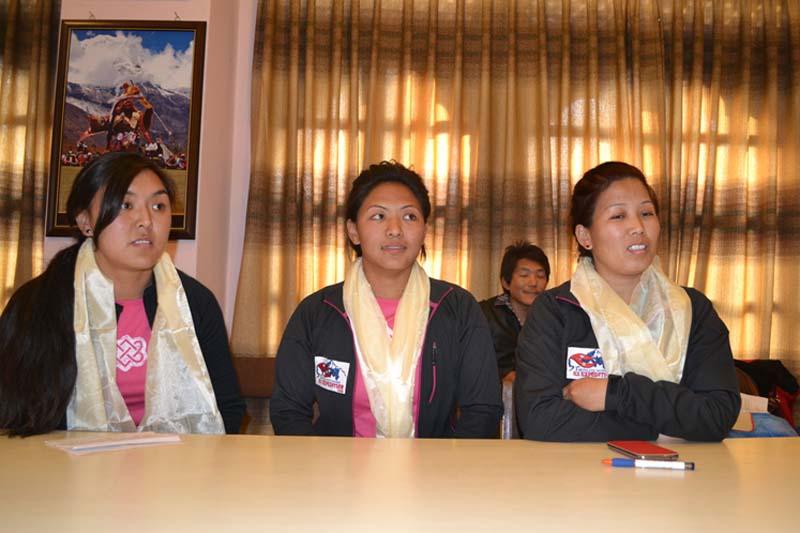 From left: Pasang Lhamu Sherpa, Dawa Yangzum Sherpa and Maya Sherpa. Photo: THT/File