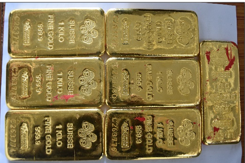 Gold bars confiscated from a person in Kalanki of Kathmandu, on Wednesday, December 29, 2016. Photo: MCD