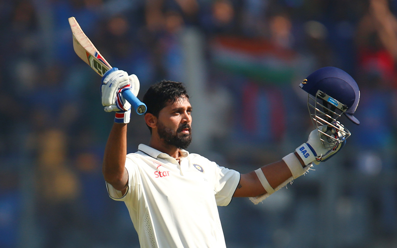 India's Murali Vijay celebrates his century. Photo: Reuters
