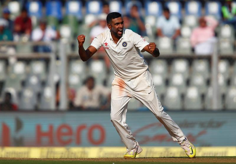 India's Ravichandran Ashwin celebrates the wicket of England's Jonny Bairstow. Photo: Reuters