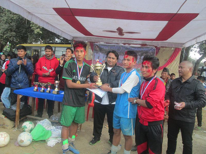 Satyabati School win the title of the Inter-school Football Tournament organised by Barahi School, in Damauli, on Sunday, December 25, 2016.