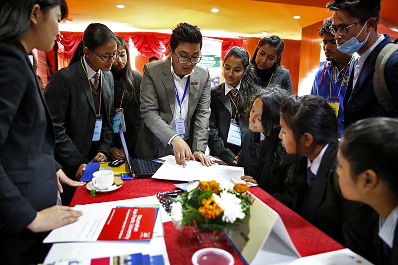 Students being briefed academic programmes at various foreign institutions, during the 13th International Education Fair, at the Alfa Beta Complex in New Baneshwor, on Thursday, December 15, 2016. Photo: Skanda Gautam/THT