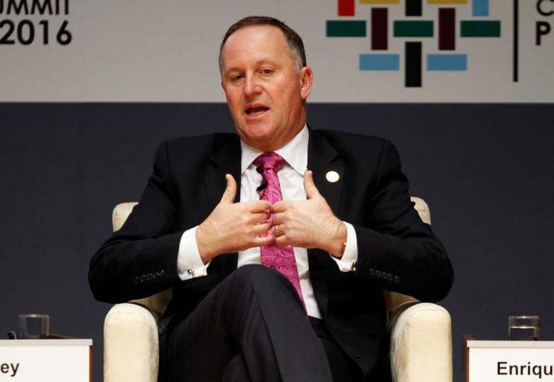 New Zealand's Prime Minister John Key addresses the audience during a meeting at the APEC (Asia-Pacific Economic Cooperation) Ceo Summit in Lima, Peru, November 19, 2016 REUTERS/Paco Chuquiure