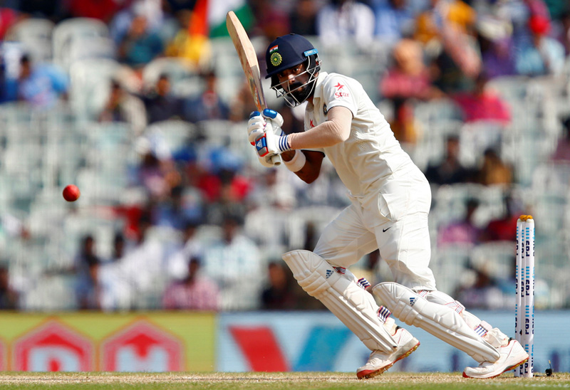 India's Lokesh Rahul plays a shot. Photo: Reuters